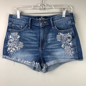 NWOT Hollister High Rise Embroidered Jean Shorts
